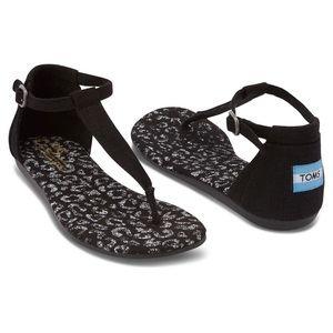 Toms Playa Sandals Black Snow Leopard Fashion Flat